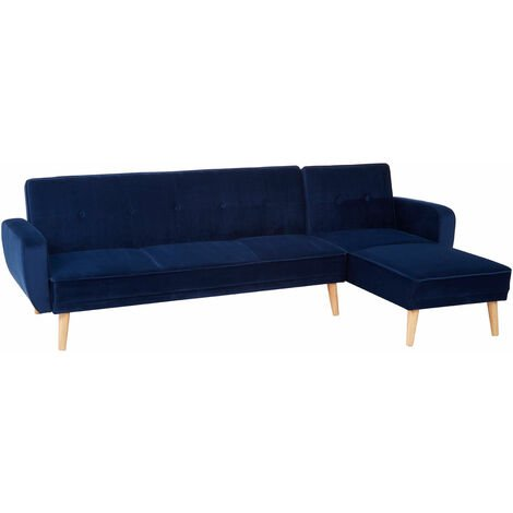 Premier Housewares 3 seater sofas Navy Blue Sofa Beds Velvet Sofa Upholstery Sofa Beds for Adults, Rubberwood Legs Sofa Bed Double , W269 x D151 x H84