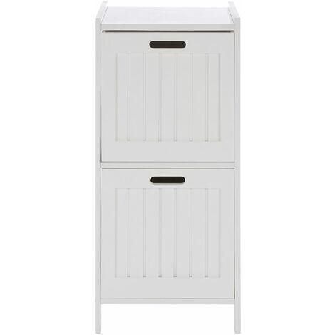 Premier Housewares 2 Tier Pine Wood Bathroom Shelf With Square Shelves White Finish Bathroom Organiser / Storage Shelving Unit For Garage Shelves 36 x 78 x 36