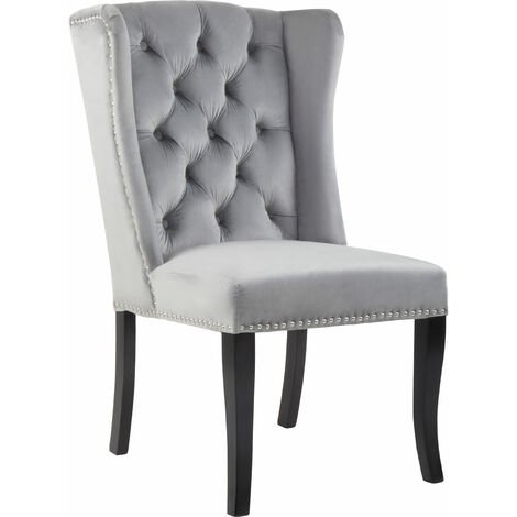 Premier Housewares Grey Buttoned Dining Chair/ Antique Rubberwood Legs Chairs For Bedroom Grey Velvet Upholstery Button Tufted Detail / Wingback 70 x 105 x 64