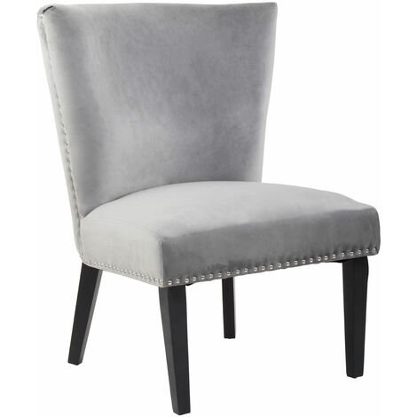 Premier Housewares Grey Dining Chair/ Dark Antique Rubber Wood Legs Chairs For Bedroom Velvet Upholstery Winged Back With Padded Detail For Living Room / Dining Room 75 x 89 x 69