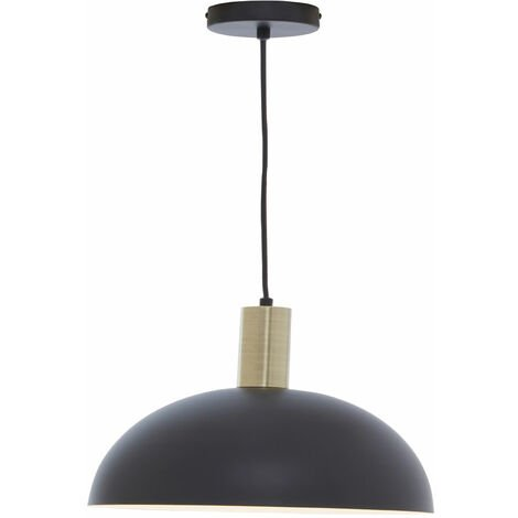 Premier Housewares Chandelier / Ceiling Light Black and White Pendant Lights For Ceiling / Hallway / Living Room Lighting With Shade For Halls / Bedroom 30 x 158 x 30