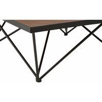 Premier Housewares Wooden Coffee Tables Living Room Industrial Coffee Table Living Room Table, Large Coffee Table - Fir Wood, Metal W100 X D100 X H38