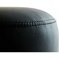 Premier Housewares Foot Stool Dressing Table Stool Small Stool Black Stool Vanity Stool Small Foot Stool in Black Leather H43x W41x D41