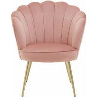 Premier Housewares Ovala Pink Velvet Scalloped Chair