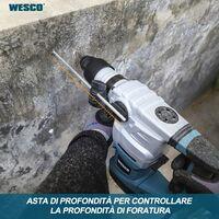 Marteau rotatif, WESCO 1500W marteau perforateur 5.5J, 3 modes de travail, perceuse / perceuse / burin avec poignée auxiliaire, tige de profondeur, 5 pointes SDS Plus WS3202K.1