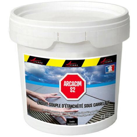 Enduit d'étanchéité sous carrelage dalle et chape extérieure - ARCACIM S2 - ARCANE INDUSTRIES - Gris marron (proche RAL 7013) - 20 Kg