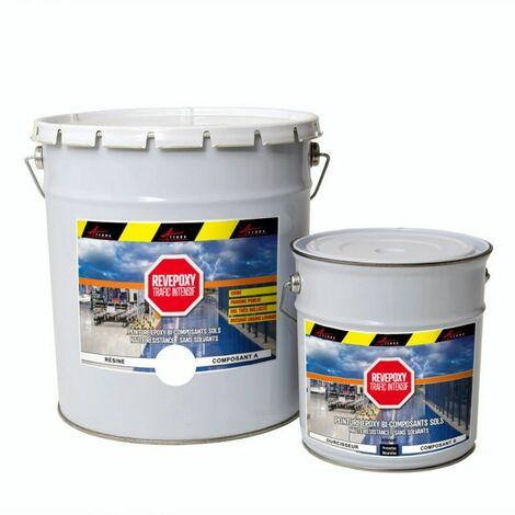 PEINTURE SOL : Résine Epoxy - Revêtement Sol Industriel et Sol Béton, usine, parking - REVEPOXY TRAFIC INTENSIF - ARCANE INDUSTRIES - Blanc - kit 5 Kg (jusqu'à 10m² pour 2 couches)