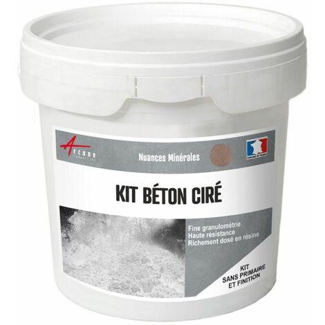 Béton Ciré : Kit enduit + Résine + Colorant - 40 couleurs - ARCANE INDUSTRIES - Vison - Gris beige - kit 2 m² (2 couches)