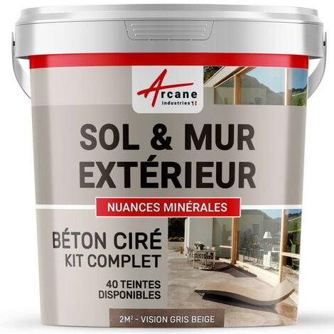 KIT BETON CIRE EXTERIEUR : Pour sol, mur, terrasse, balcon, escalier - ARCANE INDUSTRIES - Vison - Gris beige - kit 2 m² (2 couches)