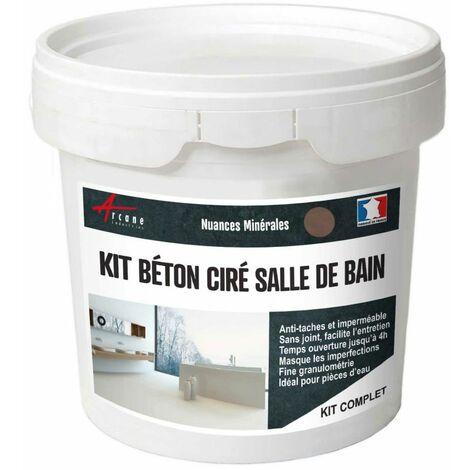 KIT BÉTON CIRÉ - MURS SALLE DE BAINS DOUCHE ITALIENNE - ARCANE INDUSTRIES - Marron glace - kit 2 m² (2 couches)