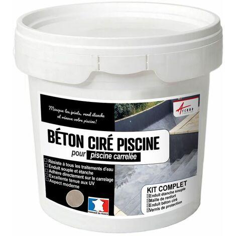 BETON CIRE PISCINE CARRELEE - Kit complet enduits HAUTE RESISTANCE - ARCANE INDUSTRIES - Rosetto - Marron rose - kit de 8 m²
