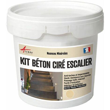 Béton Ciré Escalier - Kit Complet avec primaire et vernis - ARCANE INDUSTRIES - Vanille - Beige - kit 2 m² (2 couches)