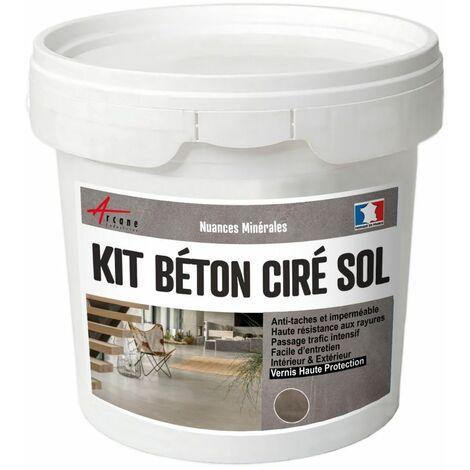 Béton Ciré Sol en Kit - Primaire et vernis de finition inclus - ARCANE INDUSTRIES - Vison - Gris beige - kit 2 m² (2 couches)