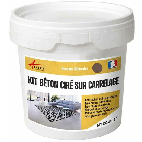 BETON CIRE CARRELAGE POUR SOLS ET MURS - KIT BETON CIRE SUR CARRELAGE - ARCANE INDUSTRIES - Marron glace - kit 2 m² (2 couches)