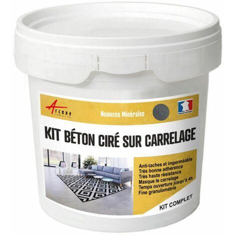 BETON CIRE CARRELAGE POUR SOLS ET MURS - KIT BETON CIRE SUR CARRELAGE - ARCANE INDUSTRIES - Flanelle - Gris fonce - kit 2 m² (2 couches)