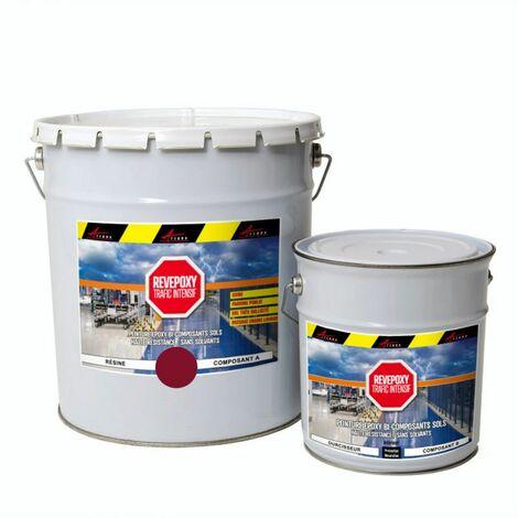 PEINTURE SOL : Résine Epoxy - Revêtement Sol Industriel et Sol Béton, usine, parking - REVEPOXY TRAFIC INTENSIF - ARCANE INDUSTRIES - Rouge rubis ral 3003 - kit 5 Kg (jusqu'à 10m² pour 2 couches)