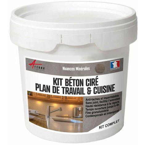 KIT BETON CIRE CUISINE ET PLAN DE TRAVAIL - ARCANE INDUSTRIES - Vison - Gris beige - kit 5 m2 (2 couches)
