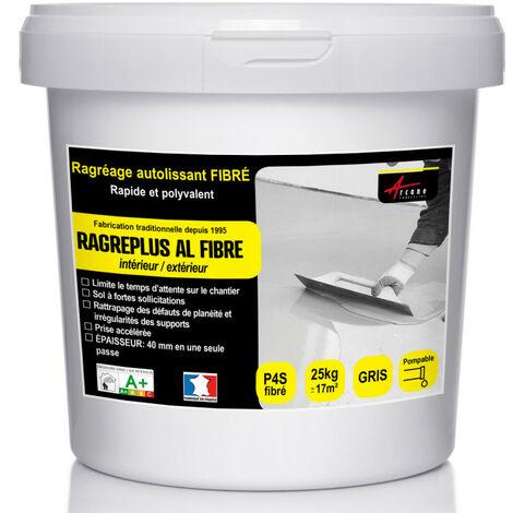 Ragréage Autolissant fibré PS4 - RAGREPLUS AL FIBRE - ARCANE INDUSTRIES - Gris - 25 Kg jusqu'à 17m² pour 1mm d'épaisseur