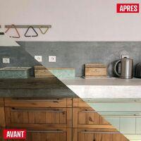 Béton ciré plan de travail cuisine crédence évier sol et mur revêtement mural décoratif kit complet - ARCANE INDUSTRIES - Griset - Gris clair - kit 2 m² (2 couches)