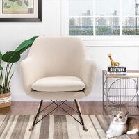 MEUBLES COSY Fauteuil à bascule de loisirs en velours beige très confortable jardin salon balcon - BEIGE