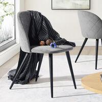 MEUBLES COSY Lot de 2 Chaises Scandinave - Tissu gris - Pieds en Métal - Salle à Manger,Salon,Bureau,Chambre - GRIS