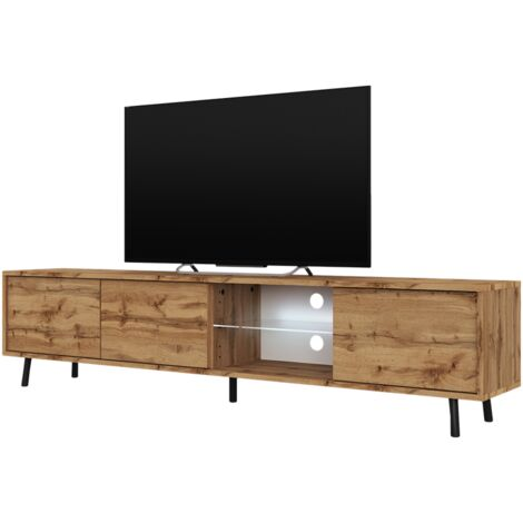 Selsey Galhad - TV Stand - Wotan Oak with LED Lighting