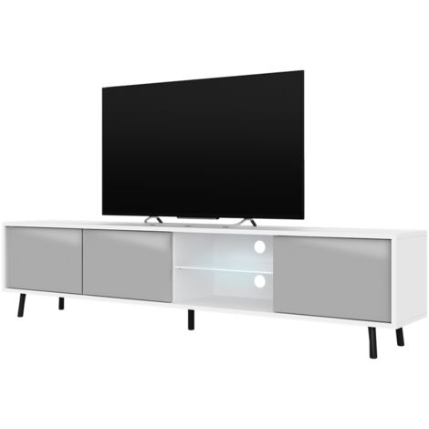 Selsey Galhad - TV Stand - White Matt / Grey Gloss with LED Lighting