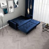 Selsey Mru Mru - Corner Sofa Bed - Navy Blue with Black Wooden Legs - Glamour