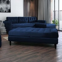 Selsey Kopenhaga - Corner Sofa Bed - Navy Blue - Hydrophobic Upholstery with a Pouf and Black Wooden Legs