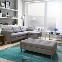 Selsey Kopenhaga - Corner Sofa Bed - Grey with a Pouf and Wooden Legs