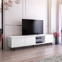 Selsey Galhad - TV Stand - White Matt / White Gloss with LED Lighting