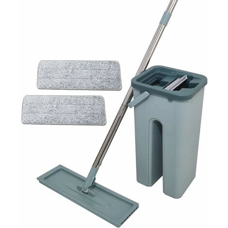 Balai auto Clean and Dry + 2 recharges - Seau à 2 compartiments, tête pivotante 360°