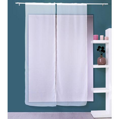 2 voiles passe tringle base droite SABLUTHEO voile polyester sablé - 70 x 160 cm uni BLANC