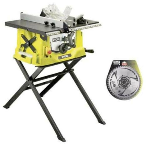 Pack RYOBI scie sur table électrique 1800W 254mm piètement rétractable RTS1800S - lame carbure pour scies à coupe d'onglets 254mm SB254T48A1