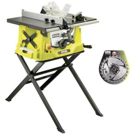 Pack Ryobi scie sur table électrique 1800W 254mm piètement rétractable RTS1800S - lame carbure pour scies 254mm 24 dents SB254T24