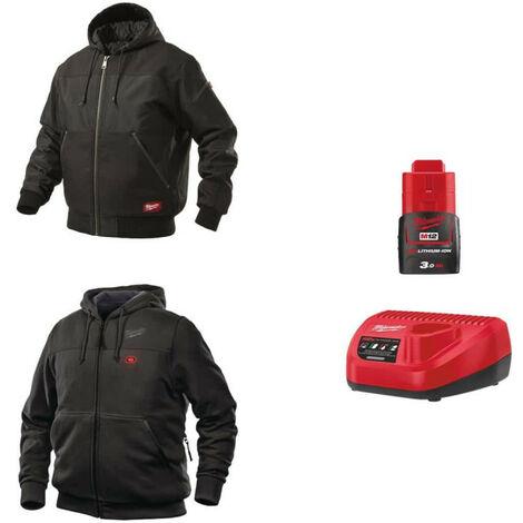 Pack MILWAUKEE Taille S - Blouson noir à capuche WGJHBL - Sweat chauffant HHBL - Chargeur de batterie 12V M12 C12 C - Batterie M12 3.0 Ah