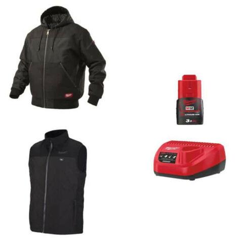 Pack MILWAUKEE Taille XXL - Blouson noir à capuche WGJHBL - Veste chauffante sans manche HBWP - Chargeur de batterie 12V M12 C12 C - Batterie M12 3.0 ah