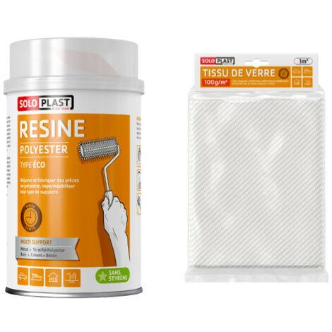 Pack résine polyester type Eco Soloplast 1 Kg - Tissu de verre Soloplast Roving 100g m2