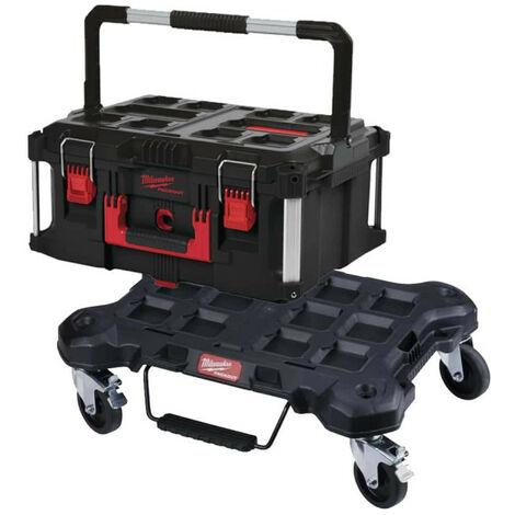 Pack MILWAUKEE PACKOUT Trolley plat - Coffret de transport 62L Taille 3