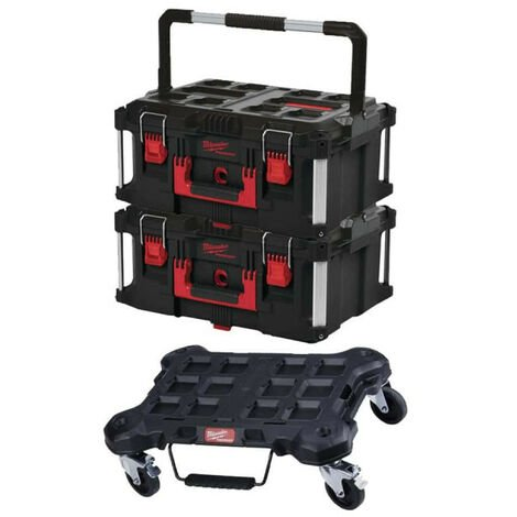 Pack MILWAUKEE PACKOUT Trolley plat - 2 Coffrets de transport 62L Taille 3