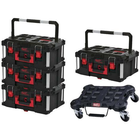Pack MILWAUKEE PACKOUT Trolley plat - 4 Coffrets de transport 62L Taille 3