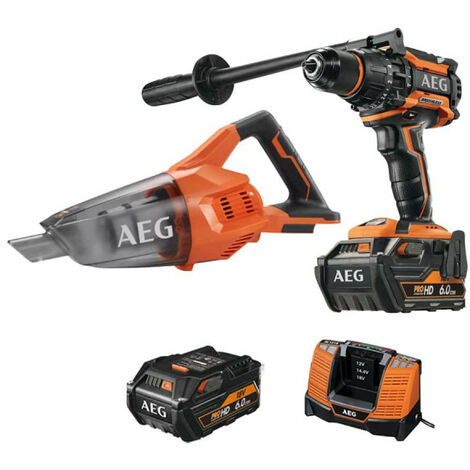 Pack AEG Perceuse percussion Brushless 18V BSB18BL-602C - Aspirateur 18V BHSS18-0 - 2 batteries 6.0Ah 1 chargeur