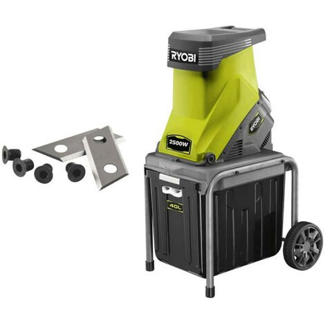 Pack RYOBI Broyeur de végétaux 2500W RSH2545B - Jeu de 2 lames pour broyeur RAC351