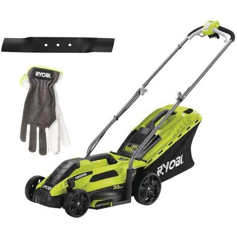 Pack RYOBI Tondeuse électrique 1300W Coupe 33cm RLM13E33S - Lame de tondeuse électrique 33cm RAC420 - Gants de jardinage Cuire Taille M RAC810M