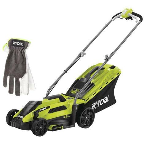 Pack RYOBI Tondeuse électrique 1300W Coupe 33cm RLM13E33S - Gants de jardinage Cuire Taille L RAC810L