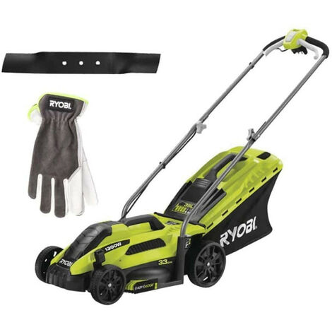 Pack RYOBI Tondeuse électrique 1300W Coupe 33cm RLM13E33S - Lame de tondeuse électrique 33cm RAC420 - Gants de jardinage Cuire Taille L RAC810L