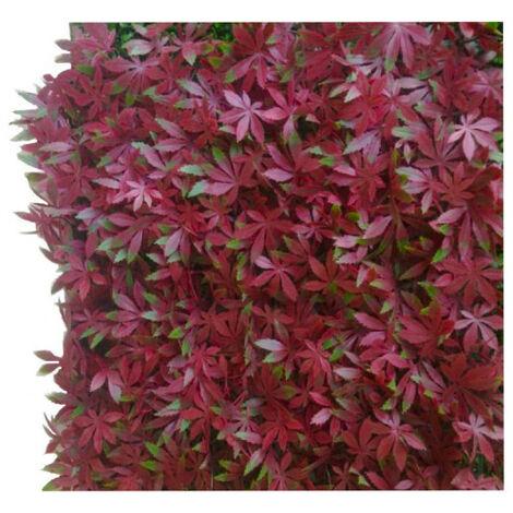 Mur végétal JET7GARDEN 4 plaques feuillage artificiel vigne vierge - 1m2 - rouge vert - Vert