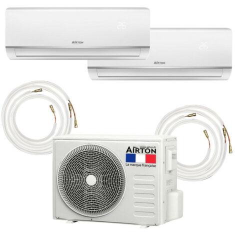Pack Climatiseur reversible bi-split AIRTON - A Poser Soi-meme - 2600W - 3500W - Readyclim 2x4M - 409733LF2X41/2