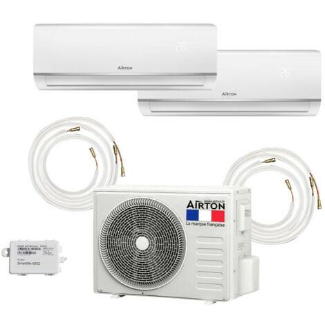 Pack Climatiseur reversible bi-split AIRTON - A Poser Soi-meme - 2600W - 3500W - Readyclim 2x4M - WIFI - 409733LF2X4MW1/2