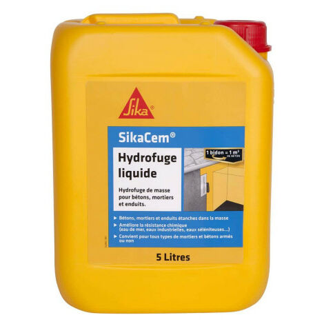 Hydrofuge de masse pour béton et mortier SIKA SikaCem Hydrofuge Liquide - 5l - Blanc
